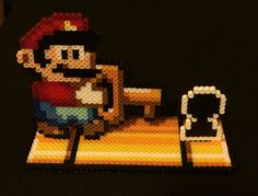 Super Mario World Stand-up Perler Scene by SoultwinSprites