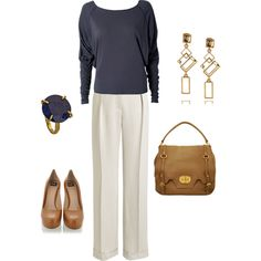 navy, white & camel, created by bonnaroosky on Polyvore