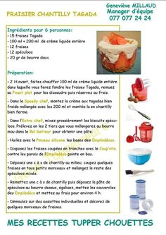 Fraisier chantilly tagada Extra Chef Tupperware, Tupperware Recipes, Good Food, Dessert Recipes, Food And Drink, Nutrition, Eat, Cooking, French Recipes