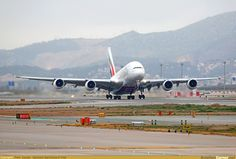 V1, Rotate. Emirates Airbus A380 on its 1st visit to BCN.