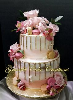 Semi Naked Pink Ombre Bridal Shower Cake with Gold Drip, Fresh Pink Rose's, Chocolate Strawberries and French Macarons – Famous Last Words Green Birthday Cakes, Birthday Drip Cake, 18th Birthday Cake, Beautiful Birthday Cakes, Gateau Baby Shower, 21st Cake, Butterfly Cakes, Flower Cakes, Bridal Shower Cakes