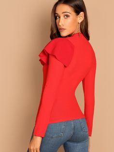 Blouse Designs, Trendy Fashion, Designer Dresses, Ruffle Blouse, Tunic Tops, Tees, How To Wear, Outfits, Clothes