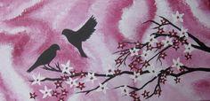 birds and cherry blossom tree trees large abstract art painting on pink canvas zen 2 bird sakura light and dark zen Japanese wall paintings