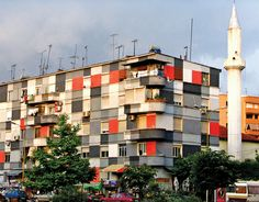 Painted apartment building from the Tirana color facade project, 2001–11, Tirana, Albania, 2007.