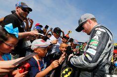 NASCAR driver Dale Earnhardt Jr. with fans at Auto Club 400. #NASCAR #AutoClub400 #AutoClubSpeedway #DaleJr