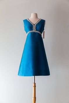 """Vintage 1960s Dress - 60s Beaded Teal Blue Cocktail Dress With Rhinestones Mod Party Dress // Waist 29"""" by xtabayvintage on Etsy"""