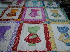 """Sunbonnet Sue Dutch Girl Baby Crib Throw Quilt 38x48"""" I LOVE the way she bordered each girl with the same fabric as her dress and how a four patch is formed at each intersection."""
