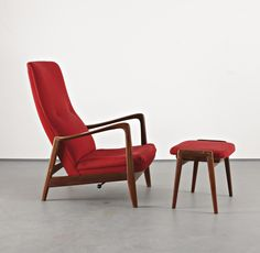 GIO PONTI Reclining armchair with ottoman, from the Hotel Parco dei Principi, Sorrento, c.1964  Rosewood, fabric, metal.  Chair: 100 cm (39 3/8 in) high; ottoman: 41.5 x 47 x 42.5 cm (16 1/4 x 18 1/2 x 16 3/4 in) Underside of seat impressed with 'NORSK/PAT NR/96981' (2)