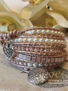 Leather Wrap Bracelet by jesslovesjewellery on Etsy Diy Bracelets How To Make, Homemade Bracelets, Leather Jewelry, Boho Jewelry, Jewlery, Vintage Jewellery, Jewelry Ideas, Antique Jewelry, Bracelet Patterns