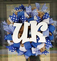 University of Kentucky U of K Burlap Wreath by BHWreathsAndMore