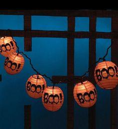 Boo! Halloween Paper Lantern String Lights by Bethany Lwe Designs. $12.99