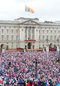 The crowd at Buckingham Palace