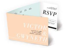 Chic Colorblocks All-in-One Wedding Invitation