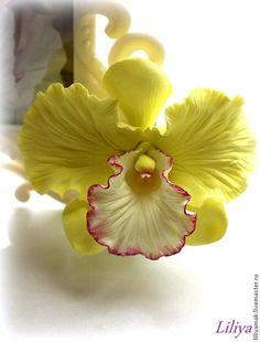 """Орхидея """"Тропическая бабочка""""-зажим для волос - салатовый,орхидея из глины  polymer clay"""