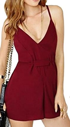 Tootless Womens Casual Sexy Short Pure Color Deep V Neck Jumpsuits Wine Red L >>> You can find more details by visiting the image link.