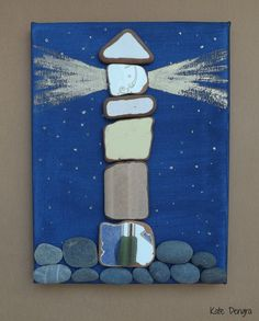 NIGHT LIGHTHOUSE Rock Pebble Stone Sea Glass Driftwood Pottery Brick Painting Made with Beach Finds Painted Canvas by DengraDesigns on Etsy