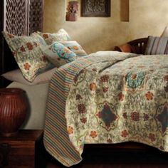 BEAUTIFUL MODERN CHIC TAUPE ORANGE TROPICAL SCROLL QUILT SET FULL QUEEN KING SZS