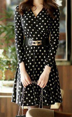 Ladylike Style V-Neck Polka Dot Print A-Line Long Sleeve Women's Dress                                                                                                                                                                                 More