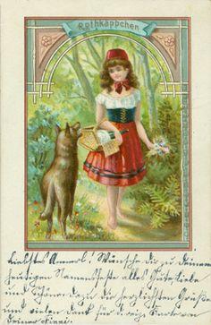 Rothkäppchen. Gelaufen. Poststempel unleserlich. Adressseite ungeteilt. - Anderes Exemplar datiert 1899.