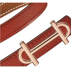 """Hermès   13 mm women's leather strap in brick red evercolor calfskin/gold epsom calfskin (strap width: 0.5"""") & Gamma 13 buckle in rose gold plated metal (width: 0.5"""")   Ref. H069806CAAB085 & H065985CDZ2   $565.00"""