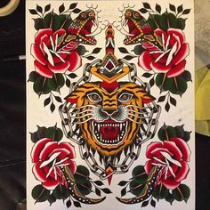 New Ideas for tattoo traditional tiger snakes Traditional Tattoo Old School, Traditional Tattoo Design, Wolf Sleeve, Tiger Tattoo, Snake Tattoo, Tatoo Designs, Line Art Design, Traditional Tattoo Flash, Vintage Flash