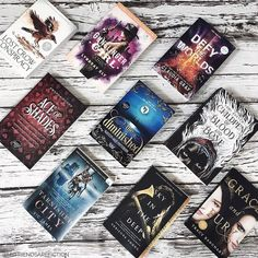 These are my 2018 #tbr books Im really excited about. I hope to read them all this month! My 2018 reading goal is 100 books. Whats yours? I started #skyinthedeep by @adrienneyoungbooks and read half the book in one sitting! I hope to finish it today. What books are you excited about? I took inspiration for this picture from @eden.hammond and @darkfaerietales_ Both these ladies are so talented and creative! #aceofshades #thediminished #tarnishedcity #defytheworlds #lostcrowconspiracy…