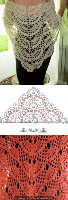 45 super Ideas for crochet lace wrap pattern Crochet Lace Scarf, Crochet Poncho Patterns, Crochet Shawls And Wraps, Shawl Patterns, Crochet Chart, Crochet Scarves, Lace Knitting, Crochet Clothes, Crochet Stitches