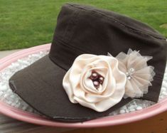 Decorated cadet hats for women | ... Cadet Hat with Ivory Satin and tulle Flowers - Ladies Womens Hat Cadet