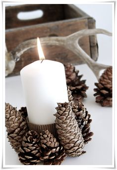 Ideas Wedding Centerpieces Rustic Pine Cones Candle Holders For 2019 Pine Cone Christmas Decorations, Diy Christmas Garland, Diy Garland, Noel Christmas, Rustic Christmas, All Things Christmas, Simple Christmas, Christmas Crafts, Popcorn Garland