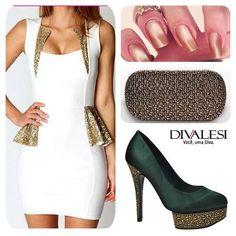 Verde, Branco e Dourado, lindo! #look #festa #brilho #sapato #fashion #divalesi