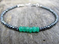 Ultra Delicate Green Zambian Emerald Bracelet Tiny Gemstones