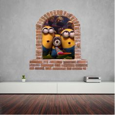 Minions brick window wall decal and stickers. Wall Decal Sticker, Wall Stickers, Window Wall, Minions, Brick, Wall Clings, Wall Decals, The Minions, Bricks