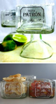 Patron Tequila Bottle DIY Ideas // Margarita Drinking Glass & Snack Bowls #recycle #diy