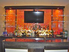 Comfortable home bar shelves ideas modern designs shelving functional and stylish shelf within kitchen island l Bar Shelves, Rustic Shelves, Glass Shelves, Shelving, Mini Bar At Home, Bars For Home, Back Bar Design, Hanging Wine Glass Rack, Grey Kitchen Walls