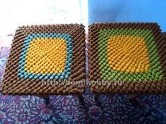 Descripción de una cubierta de taburete a crochet.