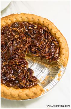 This easy pecan pie recipe with crispy crust and ooey gooey pecan filling is a classic! It requires simple ingredients and is the best Thanksgiving dessert.