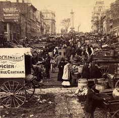 Market Place, at Place Jacques Cartier, below the Nelson Monument, Montreal, Canada, ca 1875