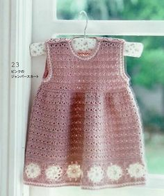 Pink Baby Dress with White Flowers free crochet graph pattern