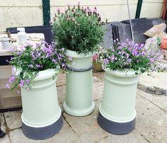 Chimney pot flower pots 🌸❤️️ Chimney Pot Planter, Planter Pots, Garden Nook, Garden Art, Back Gardens, Small Gardens, Back Garden Design, Garden Projects, Garden Tips