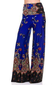 High Waist Foldover Boho Palazzo Pants (Royal) – Niobe Clothing