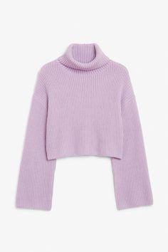 Cropped heavy knit sweater - Lovely lavender size S - Knitwear - Monki ES Purple Sweater, Grey Sweater, Black Sweaters, Chunky Knit Jumper, Cropped Knit Sweater, Knit Fashion, Sweater Weather, Cool Shirts, Sweatshirts