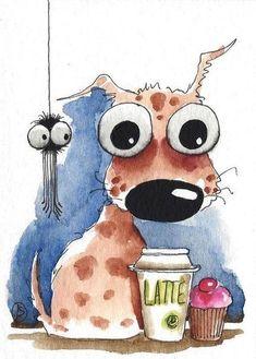 "Képtalálat a következőre: ""Big-eyed mouse drawing"" Watercolor Art Paintings, Happy Paintings, Watercolor Animals, Animal Paintings, Animal Drawings, Art Drawings, Watercolour, Funny Drawings, Pics Art"