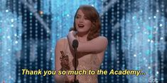 New party member! Tags: oscars academy awards emma stone oscars 2017 academy awards 2017 thank you so much to the academy