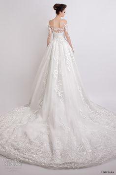 dar sara bridal 2016 wedding dresses pretty ball gown off the shoulder half filigree sleeves sweetheart neckline back view