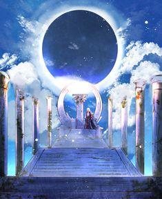 Solomon【Fate/Grand Order】 Fantasy Art Landscapes, Fantasy Landscape, Manga Anime, Anime Art, Avalon Fate, Fate Stay Night Anime, Fate Servants, Fate Anime Series, Fantasy Places