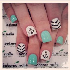 Anchor nail art designs are a must for creating a wonderful navy manicure . As is often the case with the stripes and drawings that accompany them. Anchor Nail Designs, Anchor Nail Art, Short Nail Designs, Cute Nail Designs, Gel Nail Designs, Awesome Designs, Nails Design, Love Nails, Pretty Nails