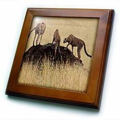 "3 cheetah brothers on mound, Tanzania - 8x8 Framed Tile by 3dRose. $22.99. Cherry Finish. Solid wood frame. Dimensions: 8"" H x 8"" W x 1/2"" D. Inset high gloss 6"" x 6"" ceramic tile.. Keyhole in the back of frame allows for easy hanging.. 3 cheetah brothers on mound, Tanzania Framed Tile is 8"" x 8"" with a 6"" x 6"" high gloss inset ceramic tile, surrounded by a solid wood frame with pre-drilled keyhole for easy wall mounting."