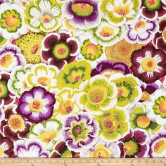 Kaffe Fassett Collective Gloxinias Moss from @fabricdotcom  Designed by Philip Jacobs for Westminster, this cotton print is perfect for quilting, apparel and home decor accents.  Colors include white, shades of grey, shades of green, shades of yellow, shades of purple and shades of pink.