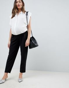 1a472c48cfaf ASOS DESIGN Maternity pull on tapered black pants in jersey crepe Asos  Maternity