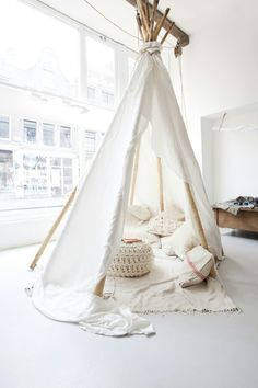 Tipi Tent for kids Play - Triangle Play House Teepee Tent for Children's - Roll It Baby Zelt Camping, Indoor Camping, Indoor Tents, Indoor Playhouse, Deco Kids, Sweet Home, Interior And Exterior, Interior Design, Retail Interior